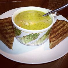 Grilled Cheese Sandwich and Tuscan Peasant Soup with grilled Chicken Breast ~ great post food poisoning comfort food   ☮ ツ