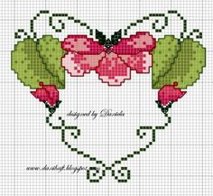 Floral Heart • Chart - this would make a gorgeous heart decoration