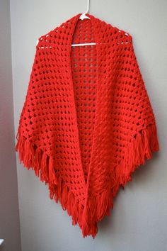 Vintage Red Crochet Shawl...no pattern, inspiration only