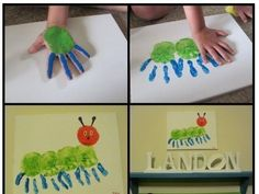 20 bug crafts to make Kinder Basteln Handabdruck Raupe Nimmersatt The post 20 bug crafts to make appeared first on Kinder ideen. Kids Crafts, Bug Crafts, Toddler Crafts, Projects For Kids, Crafts To Make, Craft Projects, Craft Kids, Project Ideas, Santa Crafts