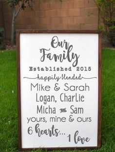 Items similar to Happily Blended Sign, Blended Family Sign, Our Family Wooden Sign, Rustic Family Sign, Blended Family Wedding Gift for Blended Family Gifts on Etsy Family Wood Signs, Rustic Wood Signs, Dark Wood Living Room, 3d Laser Printer, Top Wedding Trends, Trendy Wedding, Summer Wedding, Rustic Wedding, Wedding Ideas