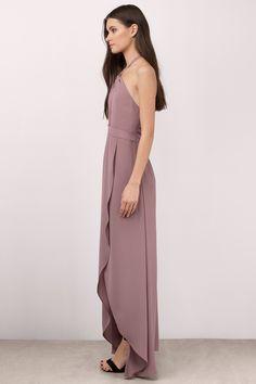 Bridesmaid Dresses, Tobi, Mauve Patti Halter Wrap Maxi Dress
