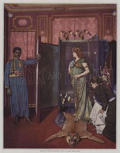 French stage actress Sarah Bernhardt in her dressing room in her costume for the title role in Morand and Sylvestre's play Izeil. Illustration from Le Figaro Illustre, May 1894.