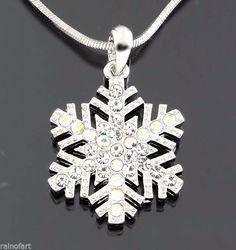 "W Swarovski Crystal AB Color Snowflake Charm Pendant Necklace 18"" Chain #Pendant"