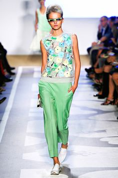 Diane von Furstenberg, RTW Spring 2012. Retro cigarette pants and a silk floral top to wear all summer long.
