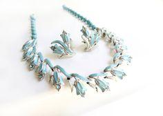 Vintage Coro Blue Enamel Flower Rhinestone Necklace