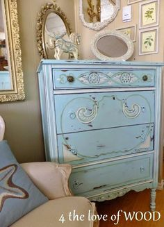 A custom mix of Florence and Old White Chalk Paint® decorative paint by Annie Sloan on a dresser for a soft turquoise look | By 4 the love of wood