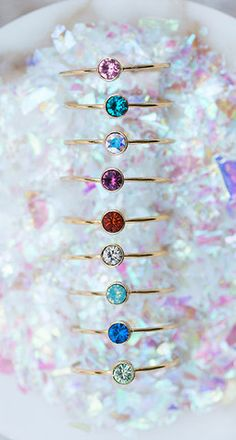 Confetti Thin Ring with Swarovski® Crystal (Blue Zircon / Gold Plated) - www.confettibyannette.com