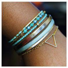 Bracelet manchette vert mint & dorée  bohème