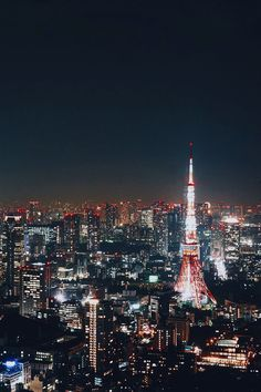 The Tokyo Tower, as with the rest of the skyscrapers in the city, light up the urban night sky.