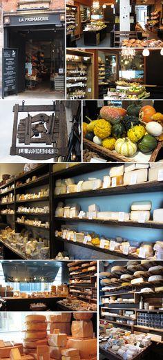 LA FROMAGERIE, LONDON, mooie wanden met kaas op de planken