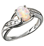"October's birthstone. 8mm x 6mm created opal cabochon with CZ accents. Symbol of hope, health & wealth. Rhodium-plated for anti-tarnish protection. Comes in a velvet box with card giving the stone's meaning. STERLING SILVER is the standard for fine silver jewelry in the world over. Only Sterling Silver can be stamped with a ""fineness mark"" of .925 indicating its high quality. http://TheTopBeautyProducts.com"