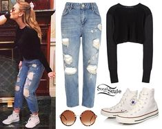 Perrie Edwards posted a bunch of new instagram photos today wearing her Zara Cropped Knitted Sweater (sold out), a pair of River Island Light Wash Vintage Straight Jeans ($90.00), a pair of Converse Chuck Taylor Hi Sneakers ($55.00) in Optical White and her ASOS Round Sunglasses With Laid On Nose Bridge ($22.85).