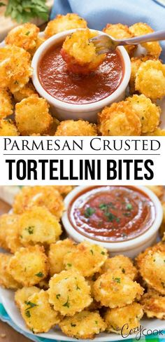 Bites are surrounded by a crispy Parmesan Crust and make a fantastic appetizer with some warm marinara sauce for dipping!Tortellini Bites are surrounded by a crispy Parmesan Crust and make a fantastic appetizer with some warm marinara sauce for dipping! Best Appetizer Recipes, Appetizer Dips, Yummy Appetizers, Appetizers For Party, Appetizer Dinner, Party Recipes, Italian Food Appetizers, Finger Food Recipes, Sandwich Appetizers