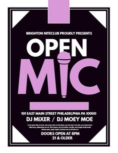 Minimalist open mic party flyer design. Click to customize.