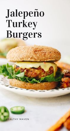 Delicious and juicy homemade jalapeno turkey burgers made with lean ground turkey, spices and pepper jack cheddar cheese for a flavor-packed dinner or BBQ meal.