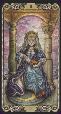 The CatTarot is a fabulous 78-card deck of felines illustrated as famous figures from literature, history, TV and movies. The cast of characters is diverse, from Marilyn Monroe to Genghis Khan to Captain Nemo to Luke Skywalker. A charming, humorous, and beautifully illustrated tarot deck.
