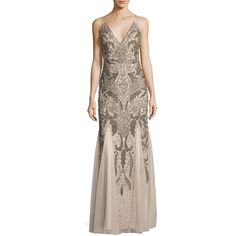 Aidan Mattox Sleeveless Beaded Paisley Chiffon Gown ($475) ❤ liked on Polyvore featuring dresses, gowns, champagne, chiffon gowns, champagne evening gown, champagne dress, sleeveless dress and chiffon evening gowns