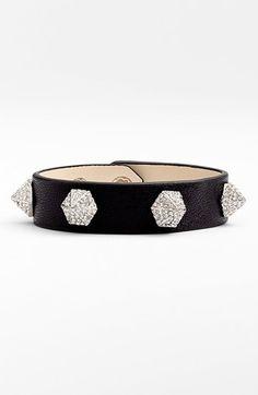 Vince Camuto Crystal Pavé Studded Leather Bracelet | Nordstrom