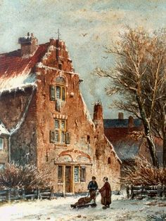 Adrianus Eversen (Amsterdam 1818-1897 Delft) ~ Figures In A Snow-Covered Town ~ Watercolour ~ Dutch Art Gallery Simonis and Buunk Ede, Netherlands.
