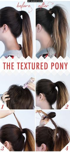 Give your ponytail that effortlessly messy look by texturizing it with dry shampoo. 27 Tips And Tricks To Get The Perfect Ponytail Ponytail Hairstyles, Pretty Hairstyles, Ponytail Ideas, Easy Hairstyle, Messy Ponytail Tutorial, Prom Hairstyles, Hairstyle Ideas, Simple Hairstyles, Hair Updo