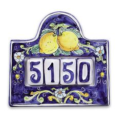 House Number Plaque for Four - Handmade, hand painted Italian ceramic house number plaque, made in Sicily, will frame your address tiles with a touch of classic Sicilian charm! Love the rustic look of this lemon design. We also have a flower design available, and we have plaques to fit either three or four numerals. Found at the Italian Pottery Outlet in Santa Barbara, CA