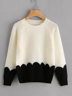 Store Distinction Panel Raglan Sleeve Chunky Knit Jumper on-line. SheIn affords Distinction Panel Raglan Sleeve Chunky Knit Jumper & extra to suit your trendy wants. Crop Pullover, Plus Size Pullover, Plus Size Sweaters, Sweaters For Women, Chunky Knit Jumper, Chunky Knits, Chunky Knitting Patterns, Knitting Ideas, Striped Knit