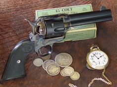 Single Action Army revolver in long colt. This revolver revolutionized the world of firearms. Weapons Guns, Guns And Ammo, Single Action Revolvers, Cowboy Action Shooting, Revolver Pistol, Lever Action Rifles, Fire Powers, Hunting Guns, Cool Guns