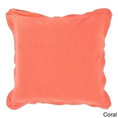 Decorative Buckingham 20-inch Down or Poly Filled Throw Pillow (Coral-2020D), Pink, Size 20 x 20 (Cotton, Solid Color)