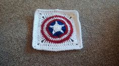 Just finished the first square for Andy's Captain America blanket