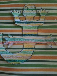 Give kids a piece of patterned paper and they have to continue the pattern to camouflage their chameleon