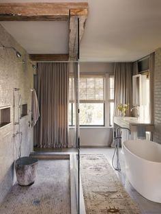 rustic modern bathroom freestanding tub reclaimed beams