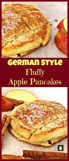 German style fluffy apple pancakes are delicious, quick, and easy. Serve warm with a sprinkling of sugar and a dash of cinnamon. Breakfast Desayunos, Breakfast Dishes, Breakfast Recipes, German Breakfast, European Breakfast, Pancake Recipes, Breakfast Ideas, Brunch Recipes, Dessert Recipes