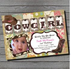 SALE WAS 14.99 Boho Cowgirl Birthday Invitation 1st Birthday or Any Age Pink, Brown, Teal, Green Digital File or Add 5x7 Prints Front
