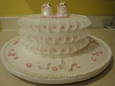 Delicate baby shower stringwork cake from CakeCentral.com by dahir