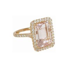 Emerald Cut Pink Morganite Ring with Diamonds found on Polyvore, but in white gold