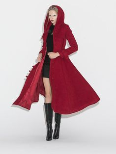 2015 New wine red Wool Coat Winter Wool Coat C661 by YL1dress  -  etsy seller, nice linen dresses, coats, etc.  will make custom sizes, from china.  i really like the simple, clean, relaxed styles, and the constructed ones.   lj