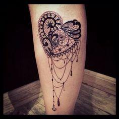 Lace Heart Tattoo Design.