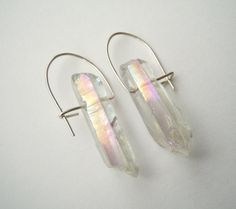 Mystic Crystal Quartz Earrings  Rough Crystal by NaturalGlam, #$40.00