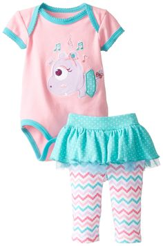 NUBY Baby-Girls Newborn Bodysuit and Pant Set Hippo, Pink, 3-6 Months