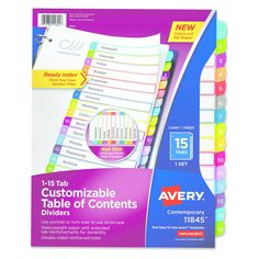 Avery Ready Index Table of Contents Dividers, Multicolor Tabs, 1-15, Letter,