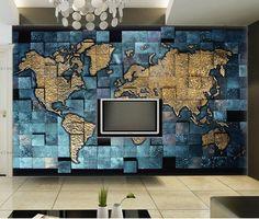 Пользовательские настенные обои стереоскопический карта мира бумага стены гостиной телевизор бар кафе фон обои домашнего декора