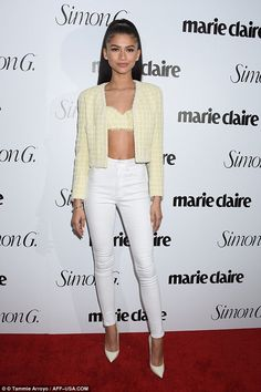 Zendaya wows in belly baring shirt as she attends Marie Claire's Fresh Faces party | Daily Mail Online
