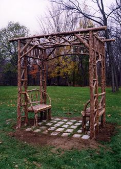 Great arbor idea...would love to have this covered in morning glories.