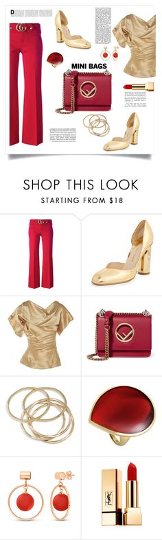 """red mini bag"" by im-karla-with-a-k ❤ liked on Polyvore featuring Gucci, Paul Andrew, Vivienne Westwood, Fendi, ABS by Allen Schwartz, Ippolita, BERRICLE and Yves Saint Laurent"