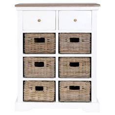 Wood cabinet in white with 2 drawers and 6 removable wicker baskets.   Product: CabinetConstruction Material: W...