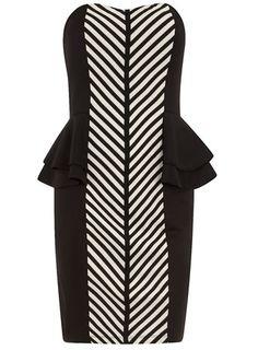 Black/ivory peplum dress, Dorothy Perkins