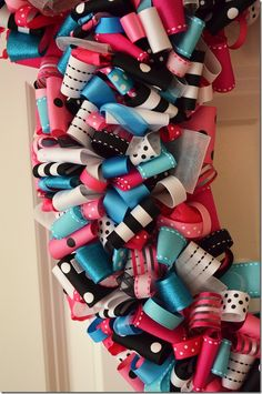 DIY Minnie Mouse Ribbon Wreath with hot pink and teal blue - Minnie Mouse Birthday Party