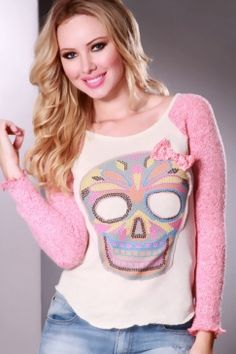 Red Skull and Bow Knit Sweater forR