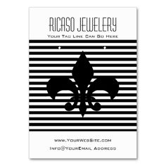 Fleurs-de-lis Black and White Earring Background Business Card Templates. This great business card design is available for customization. All text style, colors, sizes can be modified to fit your needs. Just click the image to learn more!